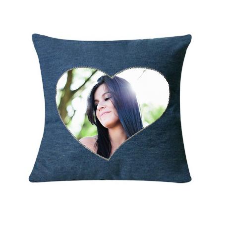 cuscino personalizzato con foto cuore jeans