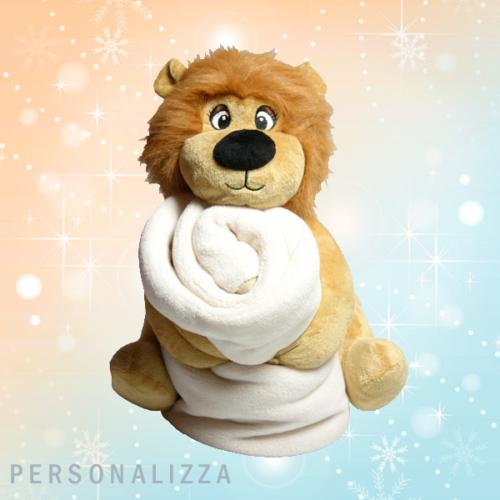 Peluche leone con plaid personalizzato