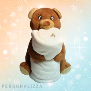 pelcuche orso con plaid personalizzato