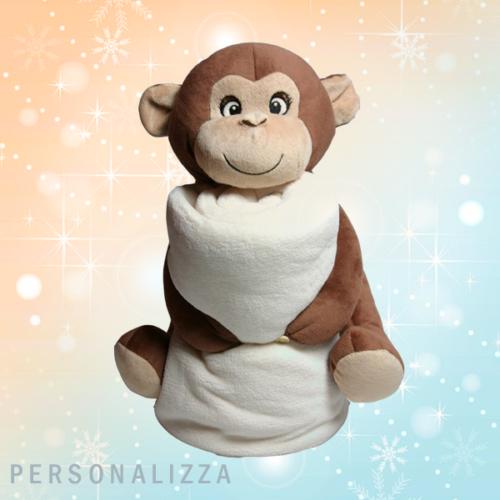 Peluche Scimmia con Plaid personalizzato