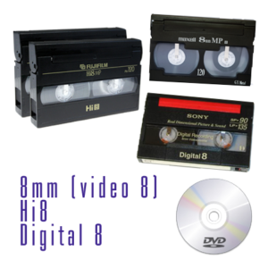 Riversamento su dvd di cassette 8mm, Video8, Hi8, Digital 8
