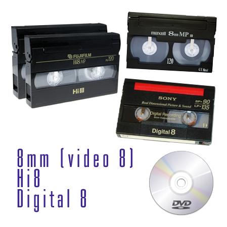 Riversamento su dvd di cassette 8mm, Video8, Hi8, Digital 8