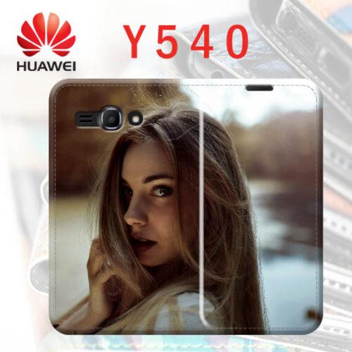 custodia a libro personalizzata in ecopelle per Huawei Y540