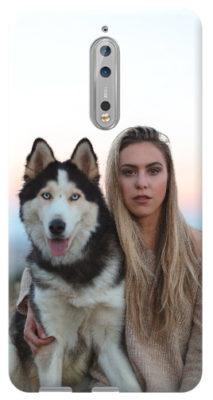 cover personalizzata nokia 8 cane e ragazza