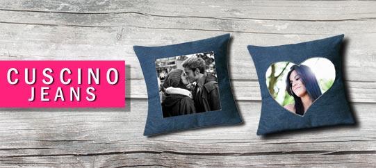 Cuscino personalizzato con foto e scritta  jeans