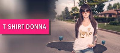crea una maglietta personalizza per donna con grafiche e loghi, vari colorie varie taglie