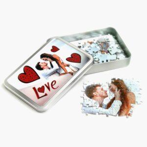 scatola personalizzata con foto con puzzle