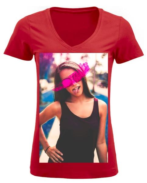 maglietta elasticizzata con foto per donna
