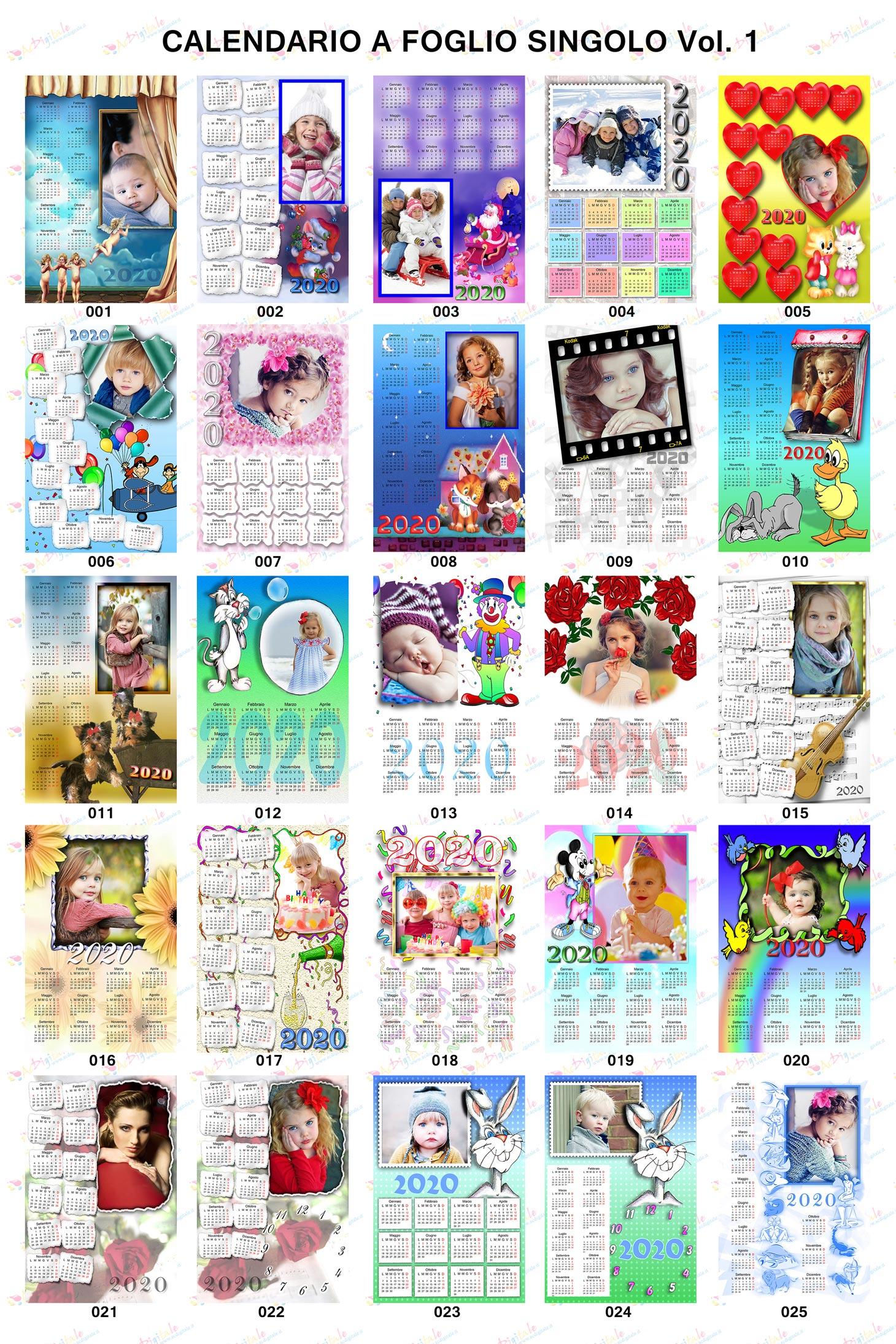 Anteprima calendari personalizzati 2020 Volume 1