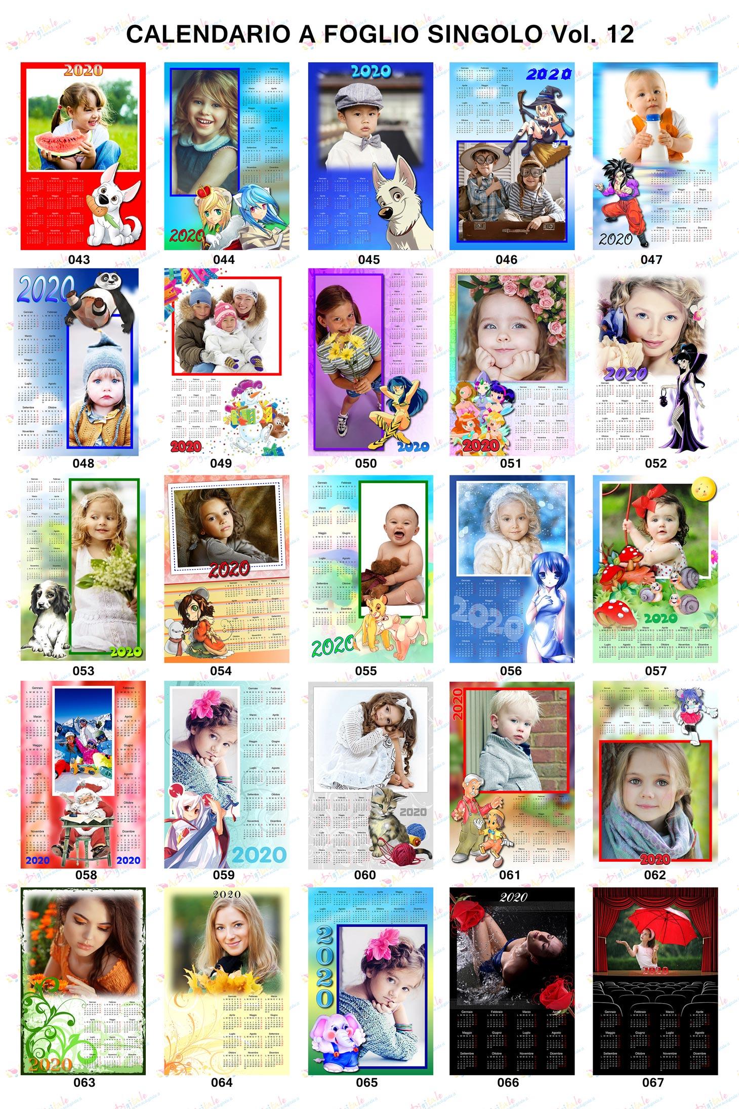 Anteprima calendari personalizzati 2020 volume 12