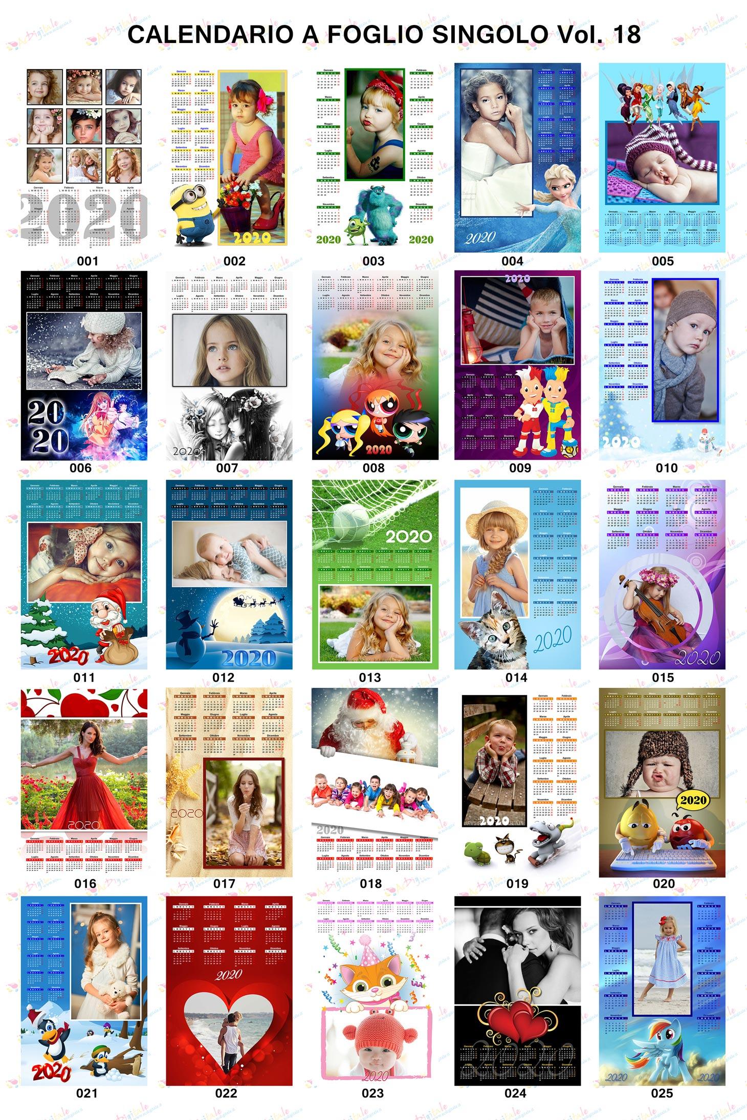 Anteprima calendari personalizzati 2020 volume 18