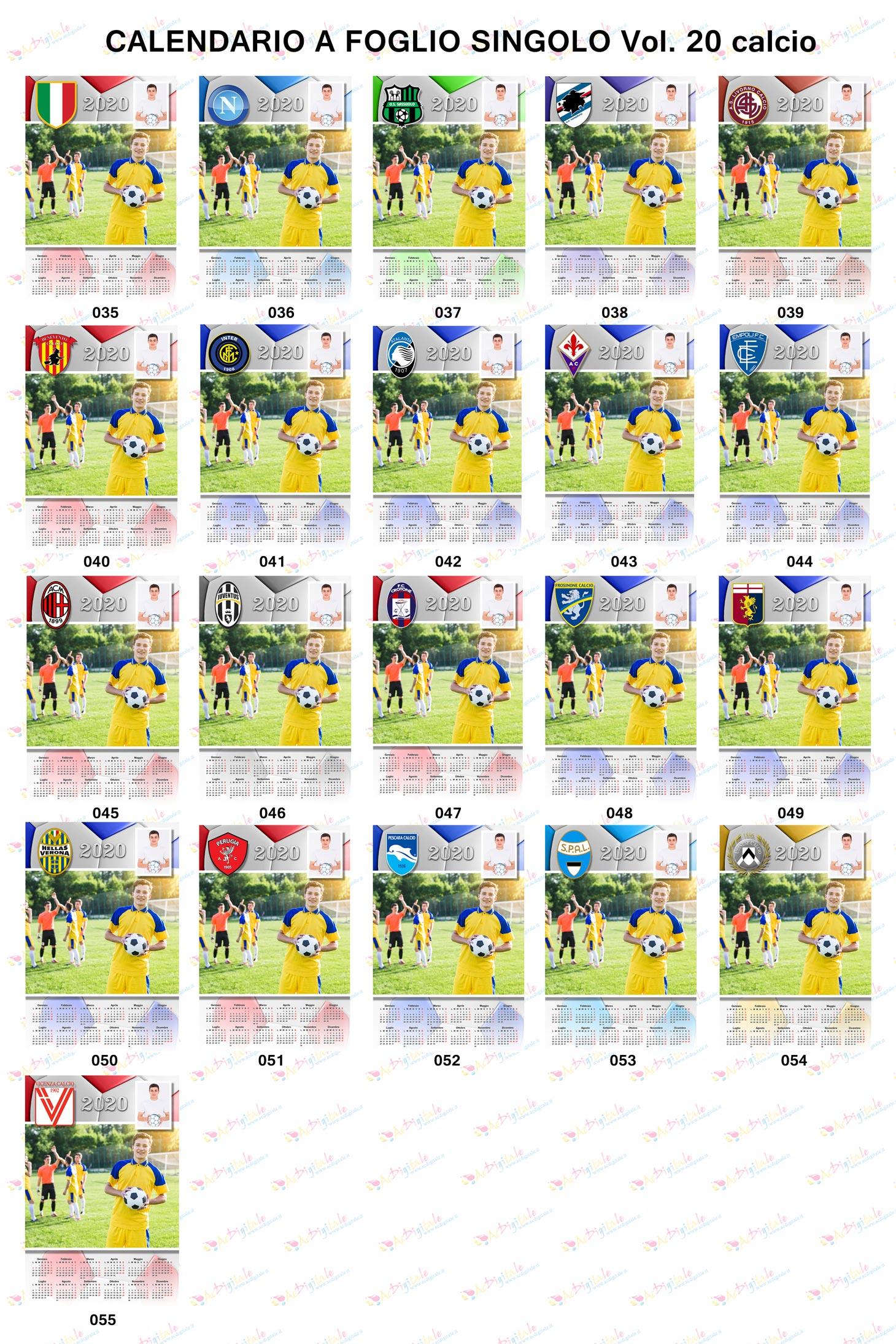 Anteprima calendari personalizzati Volume 20 calcio
