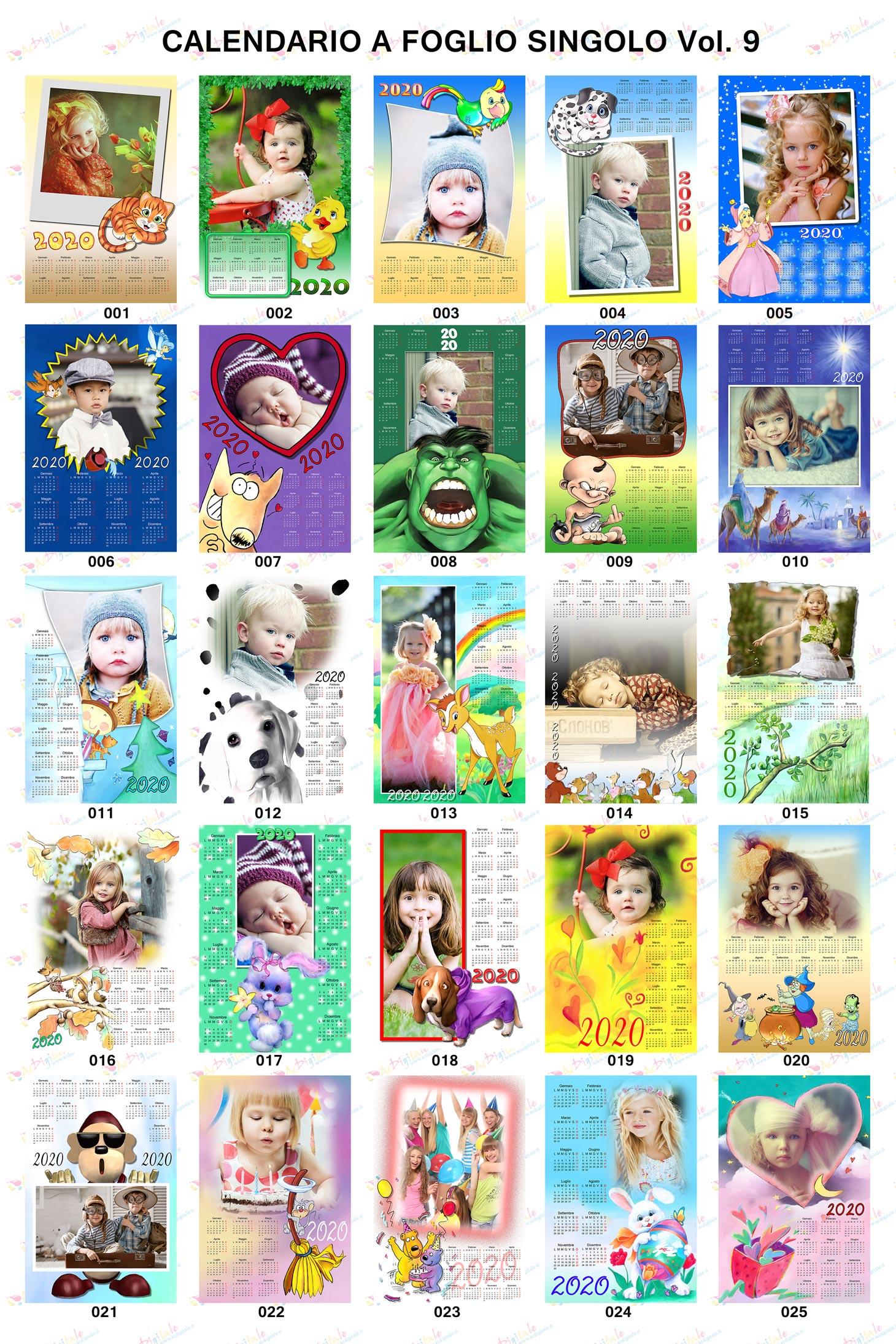 Anteprima calendari personalizzati 2020 Volume 9