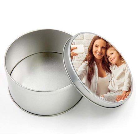 box in latta rotondo personalizzato con foto