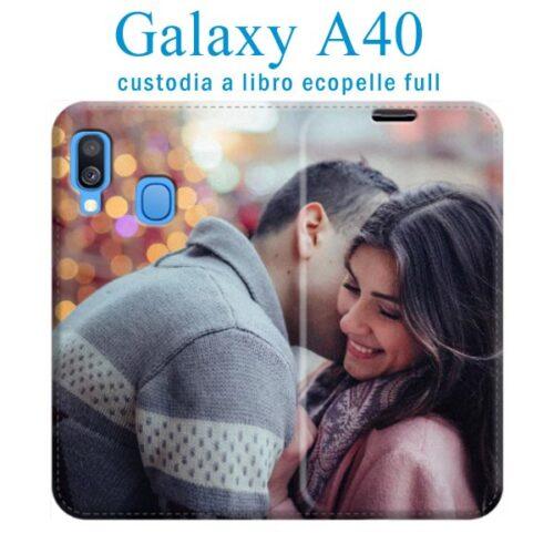 Custodia a libro personalizzata in ecopelle galaxy A40
